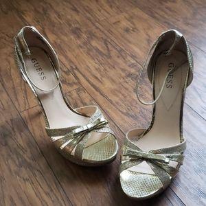 Glittery gold GUESS heels